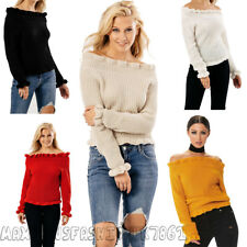 New Womens Ladies Frill Bardot Off Shoulder Long Sleeve Knitted Jumper TopUK8-14