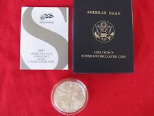 2007 W AMERICAN 1 oz  SILVER EAGLE BURNISHED  COIN UNCIRCULATED ENCAPSULATED
