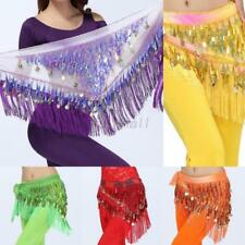 Retro Women Belly Dance Triangle Hip Skirt Belt Coins Sequins Chiffon Hip Scarfs