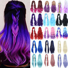 New Women Long Hair Full Wig Natural Curly Wave Straight Synthetic Hair Costume