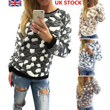 Women Crack Print Jumper Shirt Ladies Crew Neck Long Sleeve Pullover Sweater Top