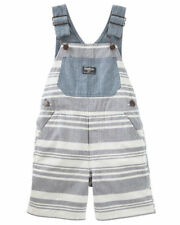 New OshKosh Short Overalls NWT 3t 4t 5T Light Blue and Ivory Stripes Summer Boy