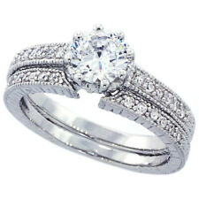 Women Sterling Silver Rhodium Plated Vintage 2Pc Engagement Ring Bridal Sets 5mm