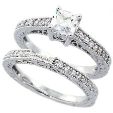 Women Sterling Silver Rhodium Plated Vintage 2Pc Engagement Ring Bridal Sets 6mm