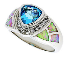 Women 925 Sterling Silver Rhodium Plated Pink Opal Ring Light Blue 13mm