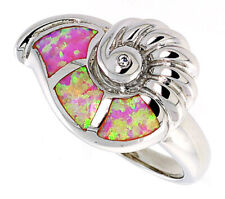 Women Sterling Silver Rhodium Plated, Pink Simulated Opal Snail Shell Ring 15mm