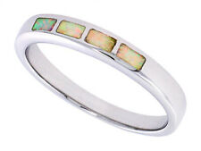 Women 925 Sterling Silver Rhodium Plated, Simulated Opal Inlay Ring 4mm Band