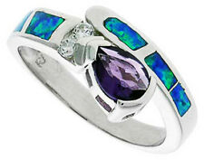 Women Silver Rhodium Plated Opal Inlay Ring Pearshaped Violet Purple 10mm