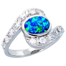 Fine Women Silver Rhodium Plated Oval Shape Opal Ring CZ stone Accents 14mm
