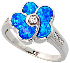 Fine Women Silver Rhodium Plated, Opal Inlay Flower Ring CZ stone Accents 16mm