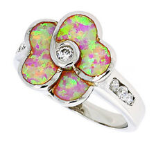 Fine Women Silver Rhodium Plated Pink Opal Flower Ring CZ stone Accents 16mm