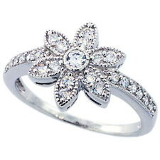 Fine Women 925 Sterling Silver Rhodium Plated, Vintage Flower Ring Band 12mm