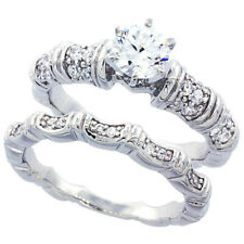 Fine Women Silver Rhodium Plated Vintage 2Pc Engagement Ring Bridal Sets 7mm