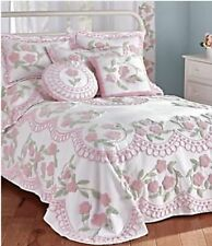 Bloomfield Chenille Tufted Cotton Bedspread - Pink {Brand New}