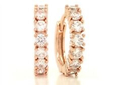 Hoop authentic 18ct rose gold plated earrings clear white gemstones purple bag