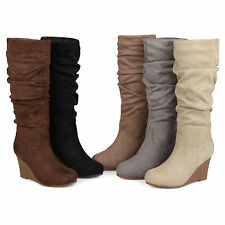 Brinley Co. Womens Standard & Wide-Calf Slouchy Faux Suede Mid-calf Wedge Boots