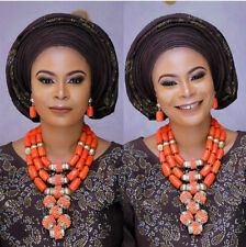Luxury African Wedding Coral Jewelry Sets Women Costume Real Coral Bead Necklace