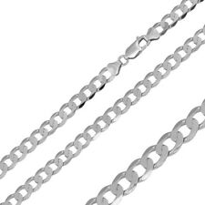 Men Women 4.7mm Sterling Silver Italian Necklace Rhodium Plated Flat Curb Chain