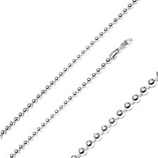 Men Women 4mm Sterling Silver Italian Necklace Rhodium Plated Bead Chain