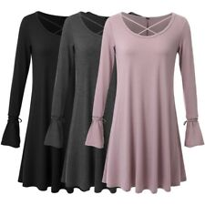 Womens Long Sleeve Loose Knitted Sweater Jumper Tops Tunic Sweater Short Dresses