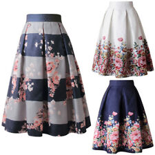 Retro Lady Floral High Waist Dress Skater Flared Pleated Swing Long Skirt A Line