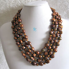 """18-21"""" 5-11mm 4Row Baroque Freshwater Pearl Necklace UK——MORE COLORS"""