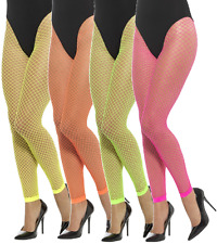 Ladies Neon Fishnet Footless Yellow Orange Pink Green 80s Fancy Dress Tights