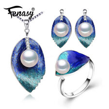 Pearl Leaf Necklace,Stud Earrings,Ring For Women 925 Sterling Silver Jewelry Set