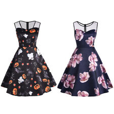 Womens Halloween Pumpkin Floral Printed Vintage Gothic Dress Swing Cocktai Dress
