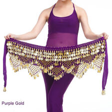 Belly Dance Hip Skirt Scarf Wrap Belt Gold Coin 3 Rows Chain Dancing Costume New