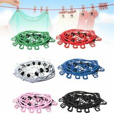 12 Clip Peg Travel Camping Elastic Washing Hanging Clothes Line Clothesline Rope