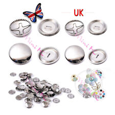 Self Cover Buttons Metal Silver Sizes 15mm 19mm 1-100Pcs Rustproof DIY Craft Hot