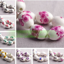 10pcs Oval Charms Flower Ceramic Porcelain Loose Spacer Beads 18x12mm DIY Making