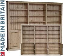 Solid Pine Bookcase, 7ft x 9ft Handcrafted & Waxed Library Display Shelving Unit
