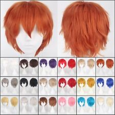 Hot Man Women Pink Blue Orange Green White Grey Hair Cosplay Wig Short Straight