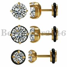 2pcs Stainless Steel Round Cubic Zirconia Dumbbell Barbell Ear Stud Earrings