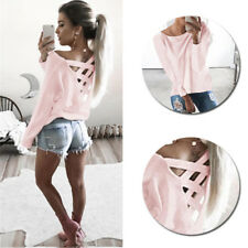 Womens New Fashion Loose Casual T Shirt Blouse Tops Long Sleeve Shirt
