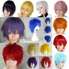 Fashion Cosplay Wig Short Shaggy Straight Full Wigs Heat Resistant Root Black Cc