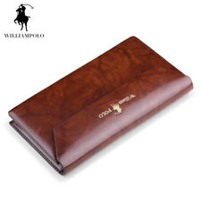 WILLIAMPOLO 10 Card Slots Genuine Leather Button Closure Fashion Long Men Wallet