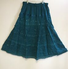 100% Cotton Womens Hippie Boho Lace Trim Tiered Embroidered Peasant Sweep Skirt