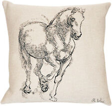 Cheval Da Vinci French Tapestry Cushion Pillow Cover - 18 x 18 - NEW
