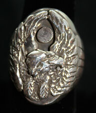Handmade Navajo Eagle Solid Sterling Silver Ring Sizes 8, 9, 10.5