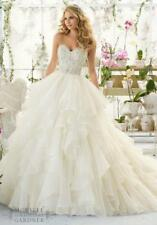 New White Ivory Appliques Beads Tiered Wedding Dress 2 4 6 8 10 12 14 16 18 Y325