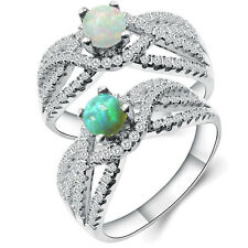 Women Fashion Inlay Green Fire Opal Rings jewelry 925 Silver Plated Rings Sz 6-9