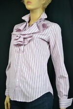 Ralph Lauren Burgundy Pink , Gray & White Stripe Ruffled Blouse Shirt -NWT