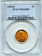 1945-D PCGS MS66 RD U.S. Lincoln Wheat Cent Uncirculated 1C Coin RR651