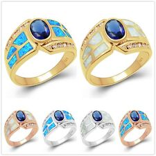 Xmas Fashion Women's Fire Opal White Gold Plated Wedding Rings Jewelry Gift