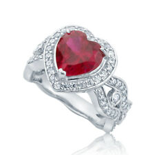 Women Sterling Silver Simulated Ruby CZ Heart Halo Cocktail Ring