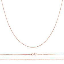 Men Women 14K Rose Gold Chain 0.7mm Cable Chain Necklace