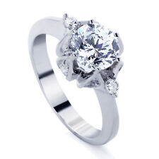 Women Sterling Silver Rhodium Plated Round 1.5 ct CZ Solitaire Engagement Ring